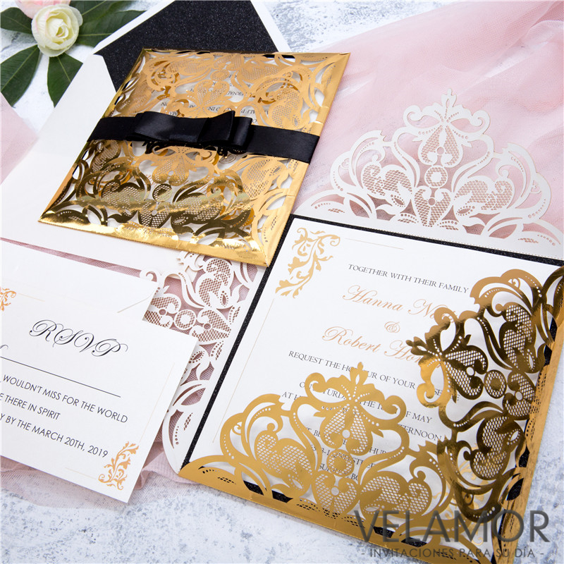 ac4997541d9a3 Elegante Invitacion para Boda WPL0019 en Papel Espejo - Haga un click en la  imagen para