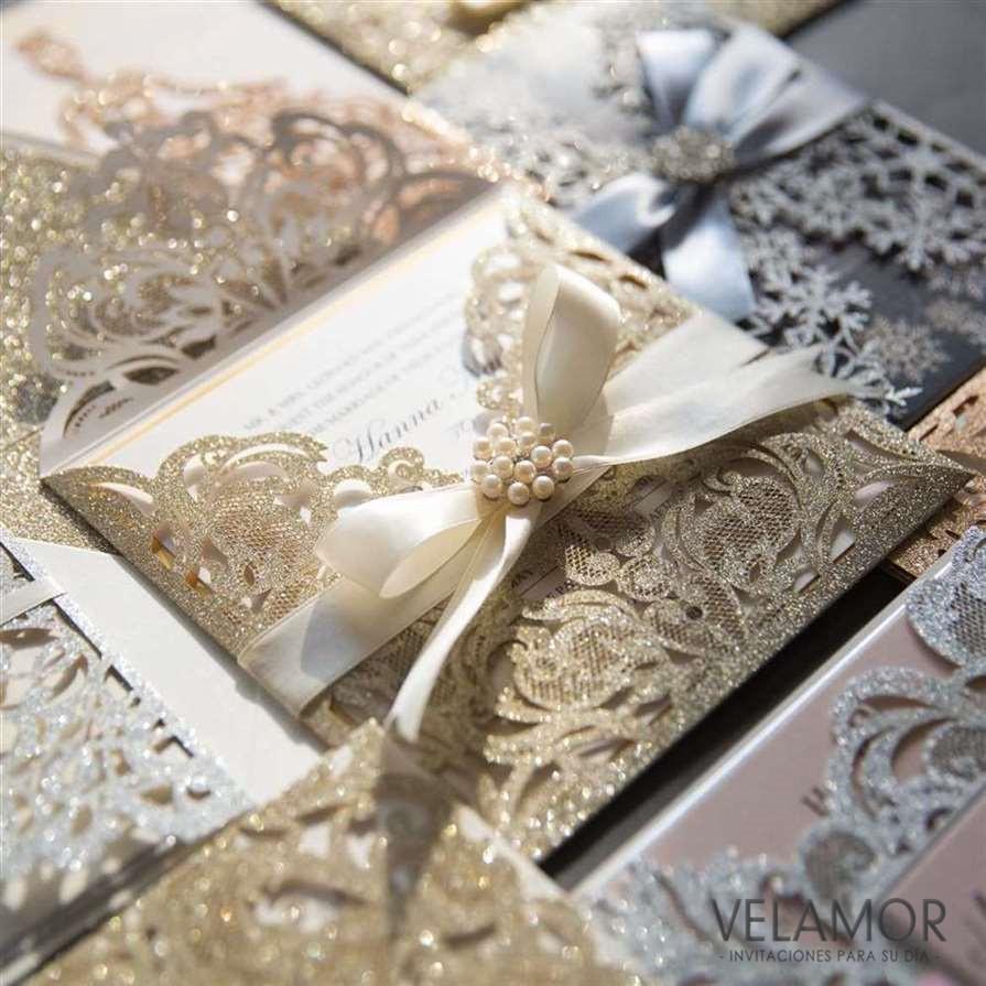 elegante invitacion para boda wpl en papel brillante