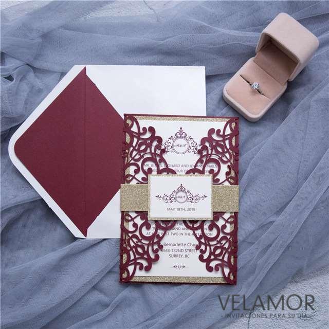amable blanco rosa corte lser tarjetas de la boda wpl