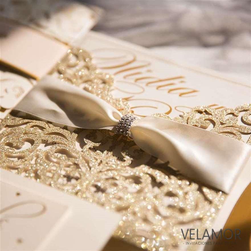 elegante invitacion para boda wpl0070 en papel brillante