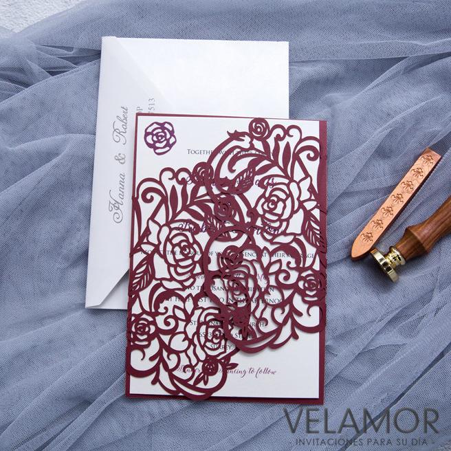 Elegante Modelo Romantico Flores Tarjeta De Invitacion