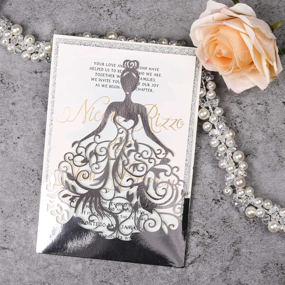 Elegante Invitacion De Vestido De Xv Wplv En Papel Espejo