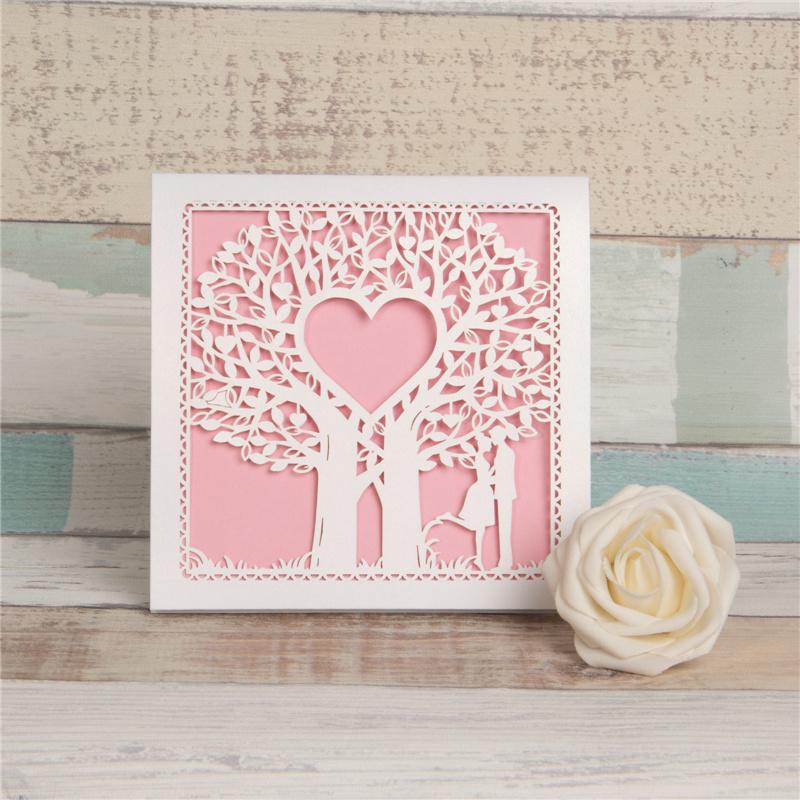 Dise o de rbo coraz n tarjetas de la boda wzl0014 - Disenos tarjetas de boda ...