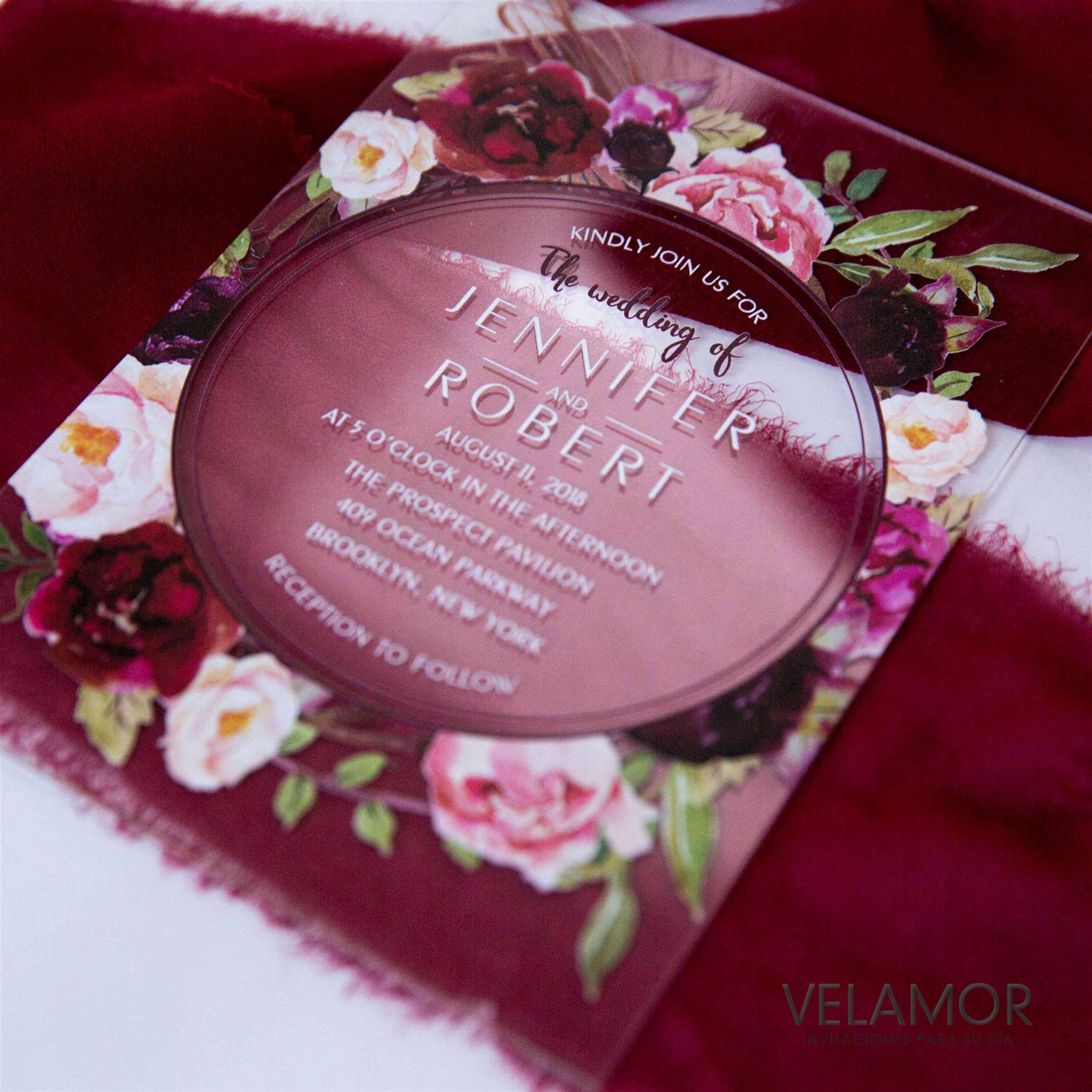 Invitacion en acrilico de 2mm ACR07 Colores